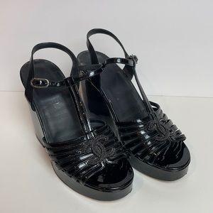 CHANEL Logo Black Patent Leather Sandals Black